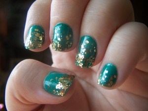 Teal and Gold Glitter Gradient