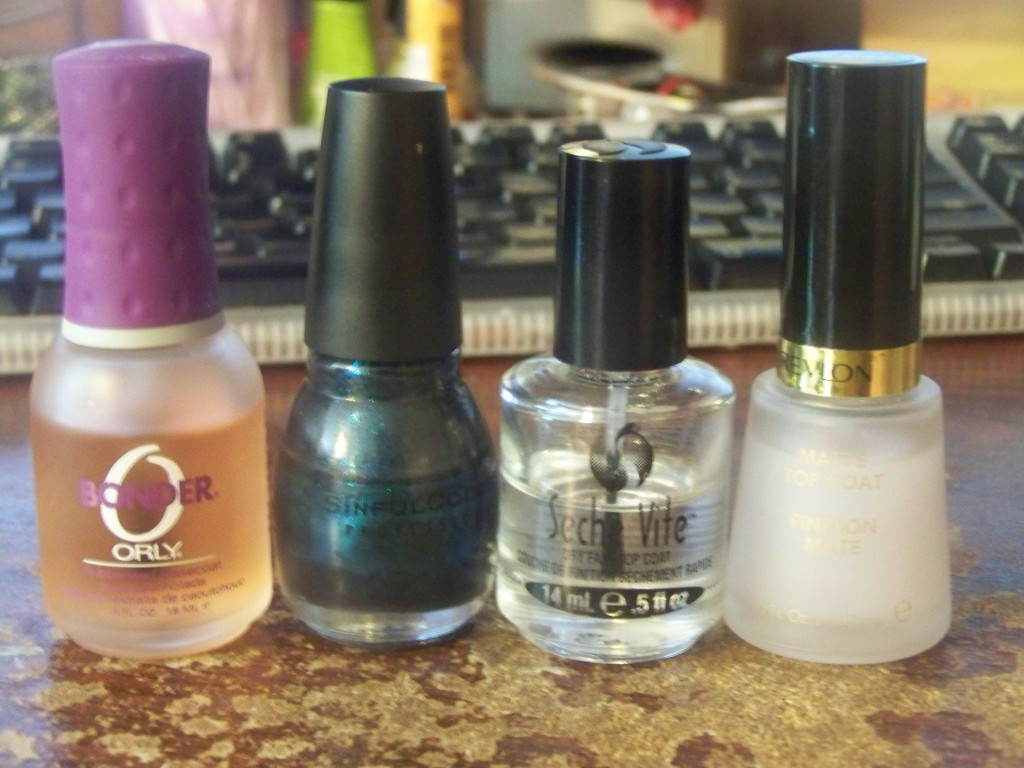 From left to right: Orly Bonder, Sinful Colors See You Soon, Seche Vite, Revlon Matte top coat