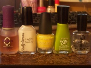 What I used: Orly Bonder, Hard to Get, Daisy, Lickety-Split Lime, Seche Vite
