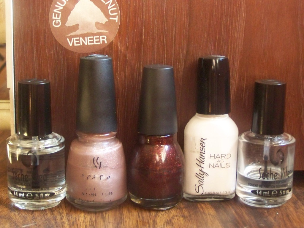 China Glaze Cashmere Creme, Sinful Colors Mercury Rising, Sally Hansen Hard to Get