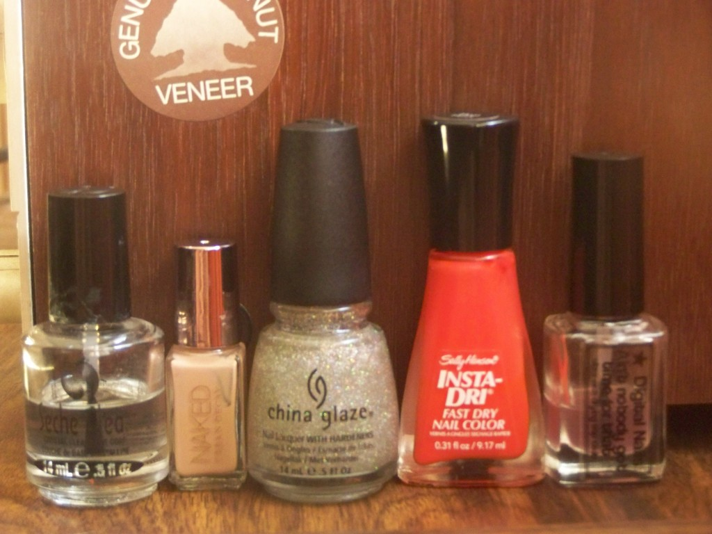 Urban Decay's Naked, China Glaze's Fairy Dust, Sally Hansen's Heat Flash