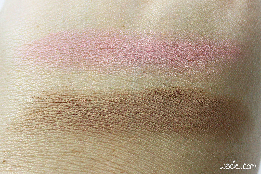 Blushes: Top, Korres Zea Mays blush, Bottom, MAC powder blush in Taupe