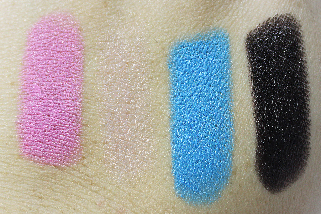 Lipsticks, left to right: Saint Germain, Pink Plush, Blue Velvet, #50
